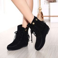 Pretty in Boots - Fringed Hidden Wedge Lace-Up Short Boots