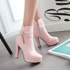 Pretty in Boots - Embellished Chunky Heel Short Boots