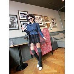 LittleSecret - Set: Denim Peplum Shirt + Sheer Layered Skirt