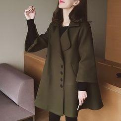 小谷粒 - 七分袖羊毛大衣