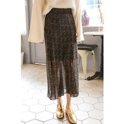 PPGIRL - Floral Print Long Skirt