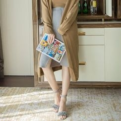 Daiyake - Plain Slit-Front Knit Skirt