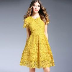 Elabo - Short Sleeve A-Line Lace Dress