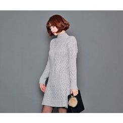 HOTPING - Turtle-Neck Cable-Knit Dress