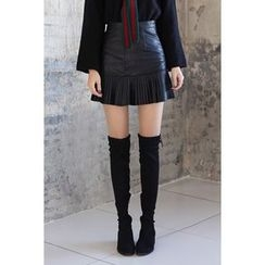 migunstyle - Pleated-Hem Faux-Leather Skirt
