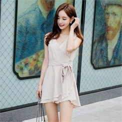 Babi n Pumkin - Surplice-Wrap Chiffon Mini Dress