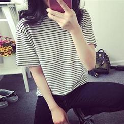 HL哈嘍妹妹 - 短袖條紋 T 恤