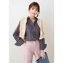 J-ANN - Striped Loose-Fit Cotton Shirt