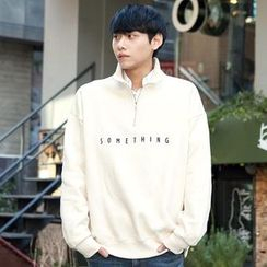 TOMONARI - Zipped Mock-Neck Lettering Pullover