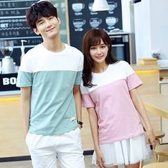 Azure - Couple Matching Color Panel Short Sleeve T-Shirt