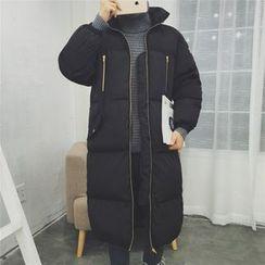 Bay Go Mall - Plain Side Zip Long Padded Coat