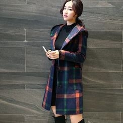 Mariposa - Hooded Plaid Long Woolen Coat