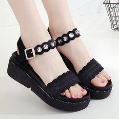 Hannah - Studded Faux-Suede Platform Sandals