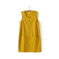 Blue Rose - Zip Front Sleeveless A-Line Dress