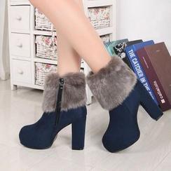 Abliz - 粗跟毛絨短靴