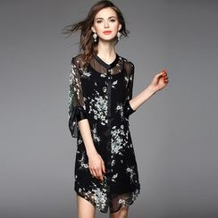 Y:Q - Cutout-Cuff Printed Silk Shirt Dress