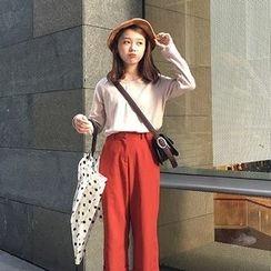 Alfie - 純色V領寬鬆長袖T恤