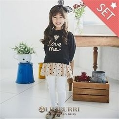 LILIPURRI - Girls Set: Polka-Dot Pullover Dress + Leggings