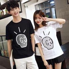 尚雅姿 - 情侶款印花短袖T恤