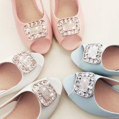 Kireina - Faux-Leather Jeweled Chunky-Heel Sandals