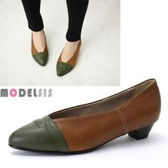 MODELSIS - Genuine Leather Two-Tone Pumps