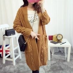 Angel Love - Cable-Knit Long Cardigan