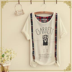 Fairyland - Set: Printed T-Shirt + Plaid Suspenders