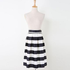 V-MAY - Striped Pleated A-Line Skirt