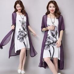 繽紛色彩 - 假兩件短袖印花連衣裙