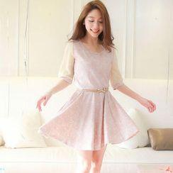 Tokyo Fashion - Elbow-Sleeve Lace A-Line Dress