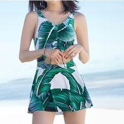 Sirene - Leaf Print Cutout Swimsuit