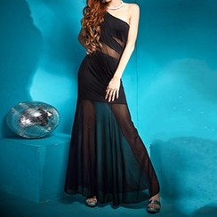 Champi - One-Shoulder Mesh Panel Sheath Evening Gown