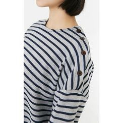 Someday, if - Buttoned-Shoulder Striped T-Shirt