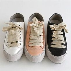 QNIGIRLS - Faux-Suede Trim Sneakers