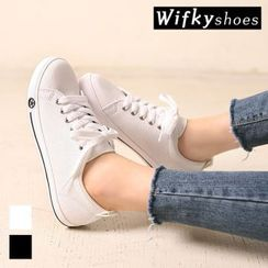 Wifky - Lace-Up Faux-Leather Sneakers