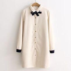 Nycto - Long-Sleeve Bow Neck Long Shirt