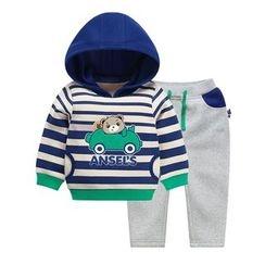 Ansel's - 童装套装: 条纹连帽衫 + 运动裤