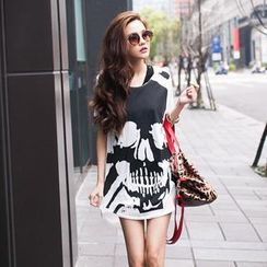 PUFII - Skull-Print Long T-Shirt