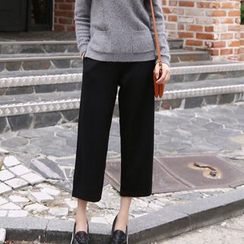 Fancy Show - Plain Cropped Wide-Leg Pants