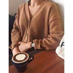 FROMBEGINNING - V-Neck Wool Blend Cardigan