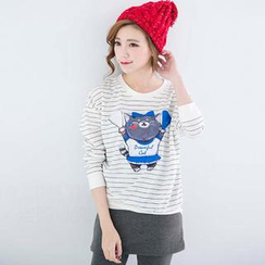 CatWorld - Long-Sleeve Cat-Print Striped Top