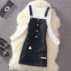 Clementine - Set: Plain Long Sleeve T-Shirt + Pinafore Dress