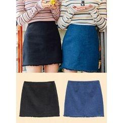 icecream12 - Fringed-Hem Denim Mini Skirt