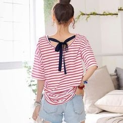 DEEPNY - Bow-Detail Round-Neck Short-Sleeve Striped T-Shirt