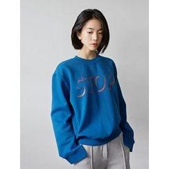 FROMBEGINNING - Slit-Cuff Lettering Sweatshirt