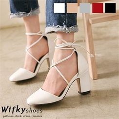 Wifky - Lace-Up Chunky-Heel Pumps