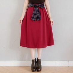 Tokyo Fashion - Plaid Panel Tie Waist Midi Skirt