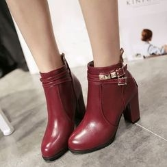 Pretty in Boots - Studded Chunky Heel Ankle Boots