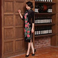Montebelle - Floral Print 3/4 Sleeve Midi Cheongsam