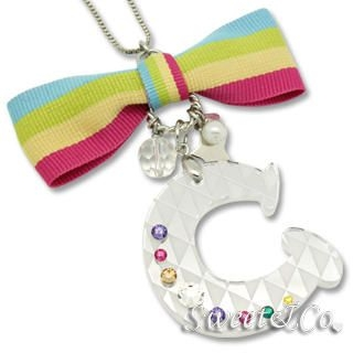 Sweet & Co. - XL Rainbow Bow of Swarovski 'C' Long Necklace